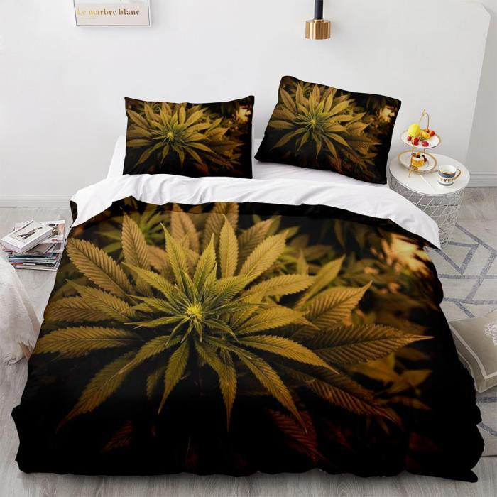 420 Weed Plant 3 Piece Comforter Bedding Sets Duvet Cover Bed Sheets