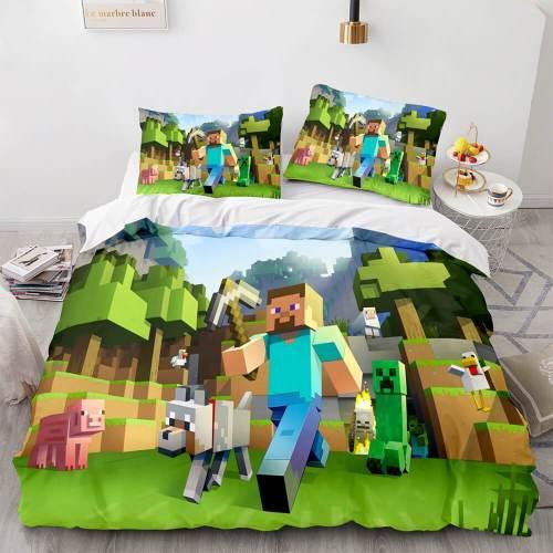 Minecraft Cosplay Bedding Set Full Duvet Cover Comforter Bed Sheets