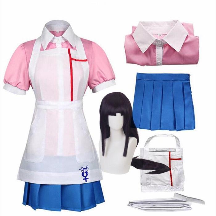 Anime Danganronpa Mikan Tsumiki Cosplay Costume Cafe Maid Uniform Women Dresses