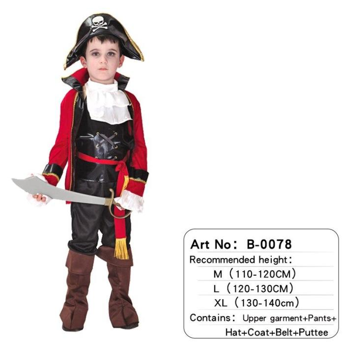 Halloween Kids Pirate Costume With Hat Fancy Boys Girls Outfit Sets For Children Birthday Party School Carnival Dress No Weapon