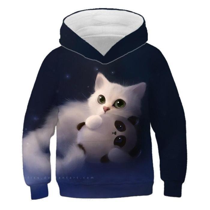 Kids Lovely Animal Cat 3D Print Hoodies Cartoon Children Clothing Boys Girls Hoodie Sweatshirts Long Sleeve Pullovers 4T-14T