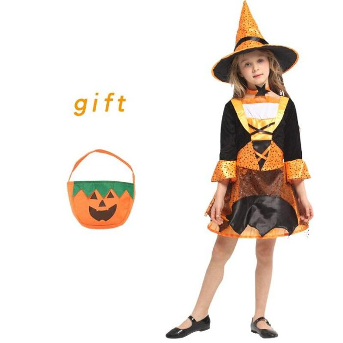 Halloween Kid Girls Witch Costume Silver Stars Printed Carnival Cosplay Dress With Pointed Hat Wand Dress Up Clothes