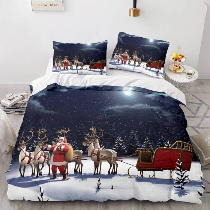 Christmas Script Bedding Sets Full Duvet Covers Comforter Bed Sheets