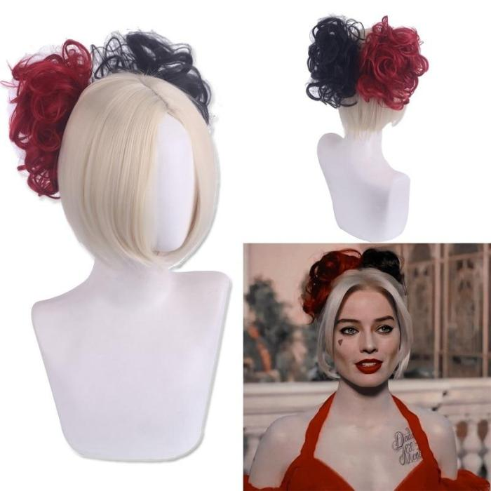 Movie Suicide 2 Squad Harley Cosplay Costume Quinn Black Red Yellow Mix Color Wig Halloween Cos Props