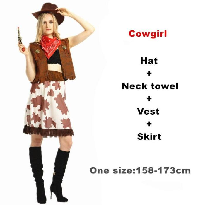 Adult/Children Halloween A Fancy Party Cowboy Costume,Cowgirl Cosplay Western Dress Suit Carnival Adult And Kids Costumes