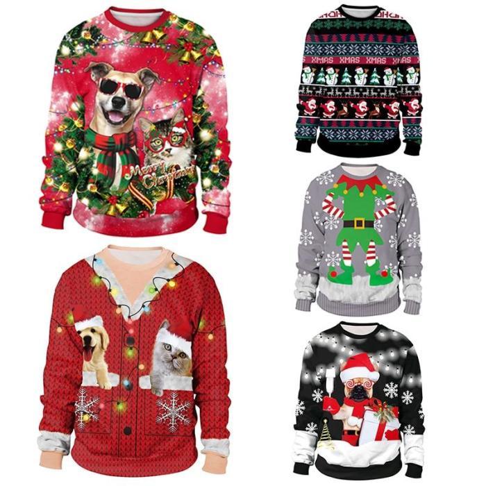 Ugly Christmas Unisex Men Women Sweater 3D Print Vacation Santa Elf Funny Christmas Jumper Autumn Winter Tops Clothing