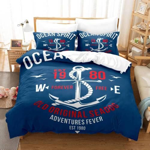 Marine Anchor Bedding Set Duvet Cover Comforter Bed Sheets