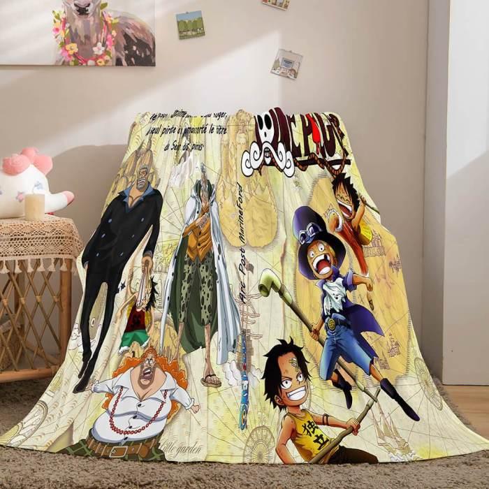 One Piece Cosplay Soft Flannel Fleece Throw Blanket Comforter Sets