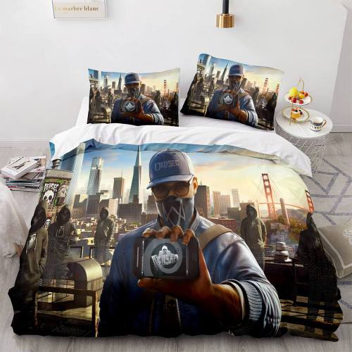 Watch Dogs 3 Piece Comforter Bedding Sets Duvet Covers Bed Sheets