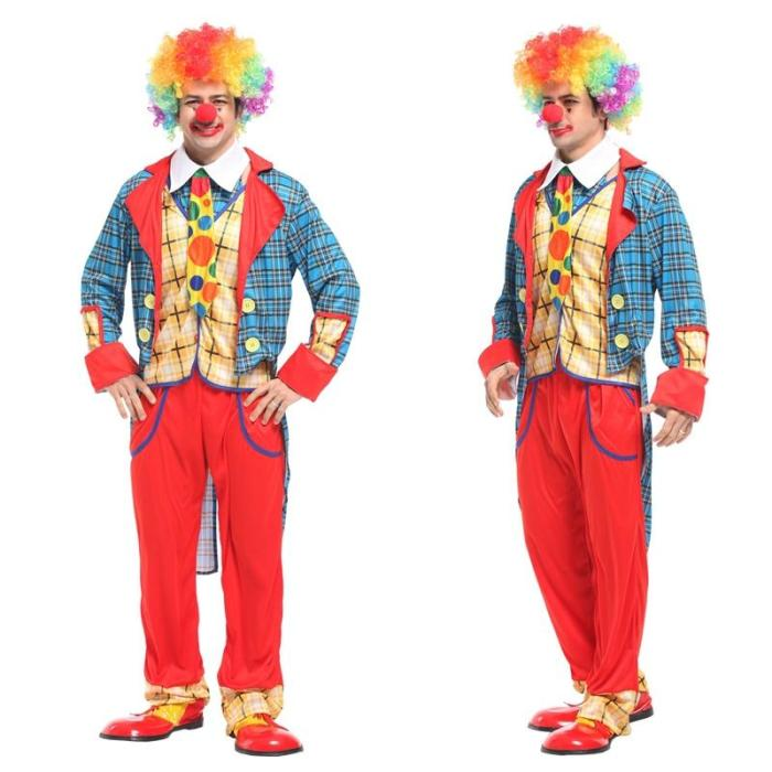Halloween Cosplay Adult Clown Clothing For Men Women Costumes Birthday Party Joke Suits Carnival Role Play Dress No Wig