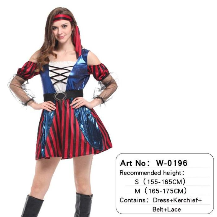 Adult Halloween Witch Scary Clothes Outfit Set Pirate Cosplay Costumes For Women Stage Performance Party Gift Christmas