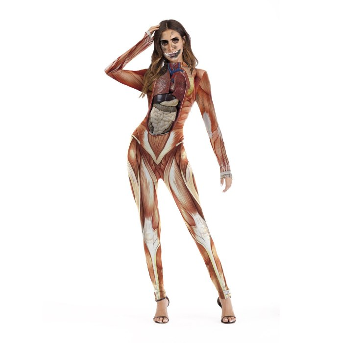 Fashion Female Horror Halloween Cosplay Costume Skull Print Sexy Long-Sleeved Fitness Skeleton Bodysuit One-Piece Party Costume