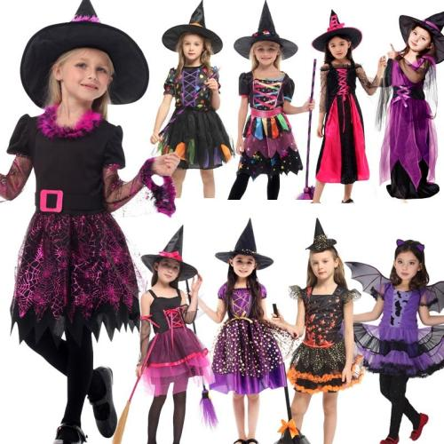 Halloween Costume Cosplay Witch Costume With Hat Bay For Kids Children Christmas Party Dress Up 3-12Years