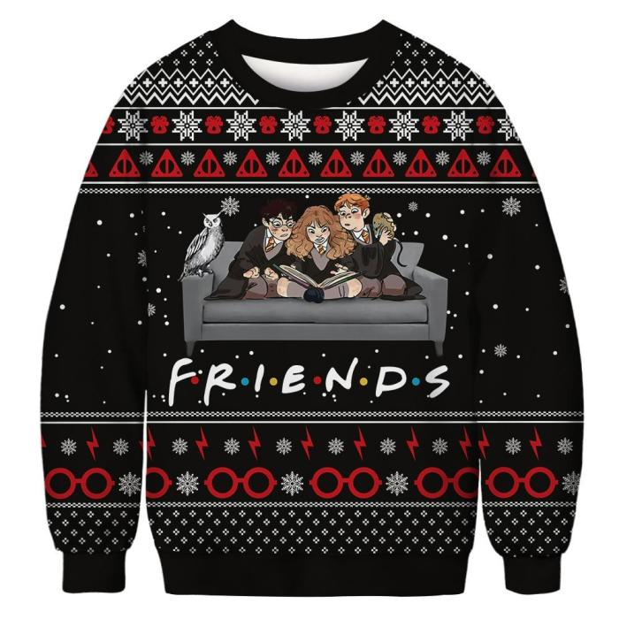 Ugly Christmas Sweater Fun 3D Printed Sweater Fashion Unisex Long-Sleeved Hooded Sweater Autumn Funny Christmas Party