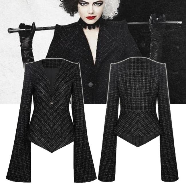 Cruella De Vil Cosplay Costumes Jackets V-Neck Collar Black Uniform Woman Halloween Carnival Outfits