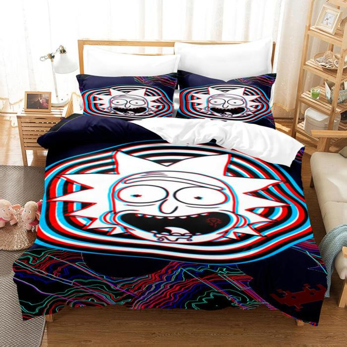 Rick And Morty Cosplay Kids Soft Bedding Sets Duvet Covers Bed Sheets