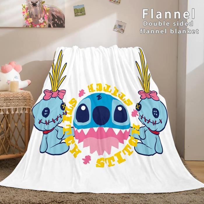 Stitch Blanket Flannel Throw Cosplay Blanket Comforter Sets For Bed