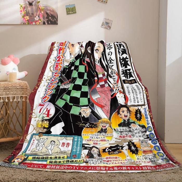 Anime Demon Slayer Cosplay Flannel Fleece Throw Blanket Comforter Sets