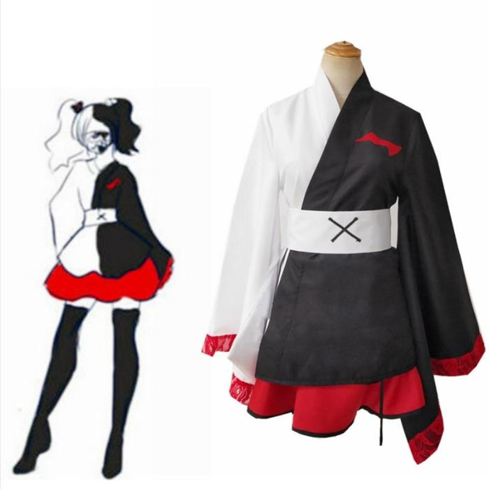 Balck White Game Danganronpa Monokuma Cosplay Pinafore Japanese Kimono For Women Dresses Halloween Cosplay Costume Custom Made