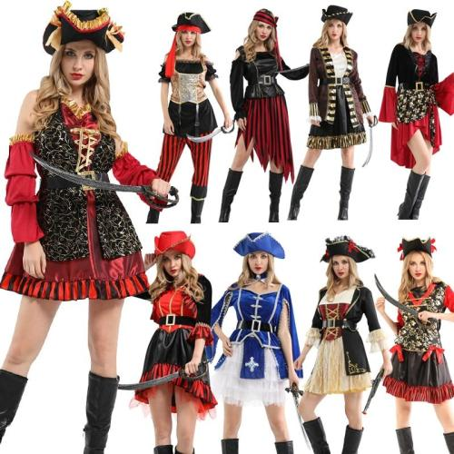Halloween Party Pirate Cosplay Costume Caribbean Pirates  With Hat Headwear Holiday Adult Women'S Party Supplies