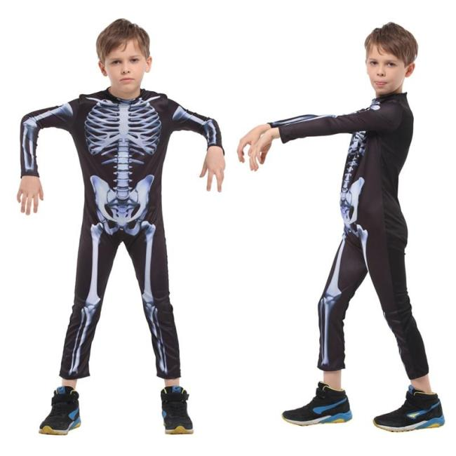 Halloween Costume Skull Skeleton Ghost Cosplay Costumes Children Carnival Masquerade Dress Robes Scary Dress Up