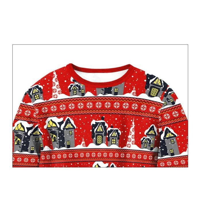 Autumn Winter Ugly Christmas Women Long Sleeve O-Neck Loose Pullover Castle Print Tops