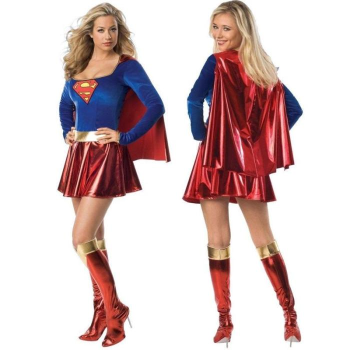 Halloween Adult Kids Superhero With Cloak Cosplay Costumes Girls Dress Shoe Covers Suit Super Dress Christmas Gift Clothes