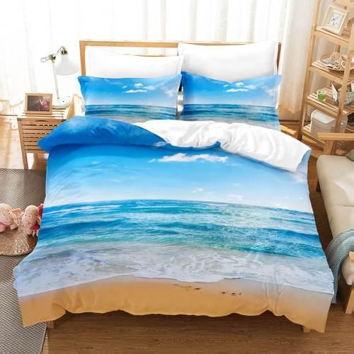 3-Piece Coastal Beach Theme Bedding Sets Duvet Cover Set Bed Sheets