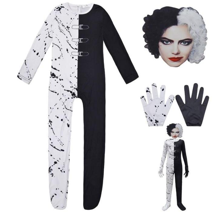 Halloween Costume Black White Cruella De Vil Cosplay Jumpsuit Mask For Girls