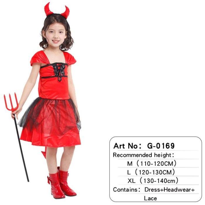 Halloween Children Animal Black Red Costume Robe Cosplay Devil Horn Demon Headwear Party Cosplay Fancy Dress