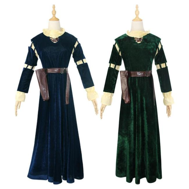 Anime Brave Merida Cosplay Costume Dress Wigs Princess Women Female Adult Dress Halloween Party Stage Costumes