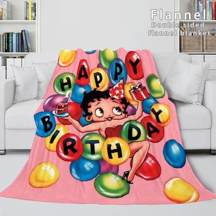Betty Boop Cosplay Flannel Blanket Throw Comforter Soft Bedding Sets