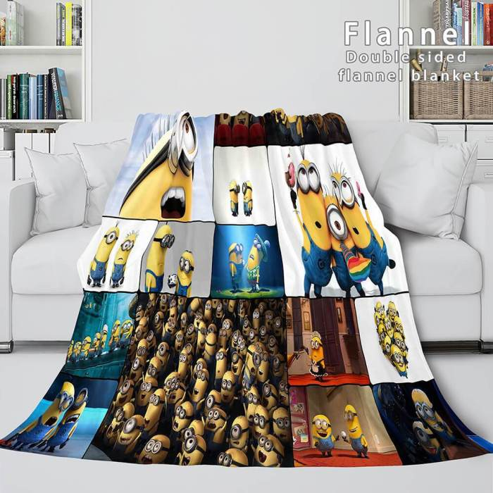 Cute Minions Cosplay Flannel Blanket Throw Comforter Bedding Blanket Sets