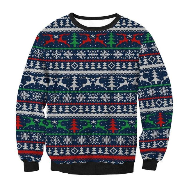 Fashion Unisex Ugly Christmas Sweater Men Women Casual Long Sleeve Round Neck Pullover Tops