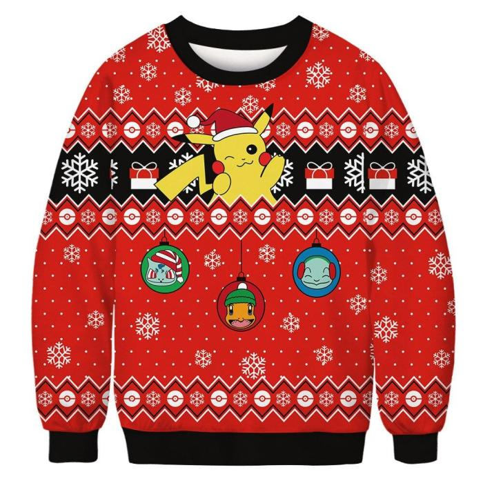 Christmas Couple Clothing Cute Cartoon 3D Printed Sweater Fashion Unisex Long-Sleeved Hooded Ugly Christmas Sweater