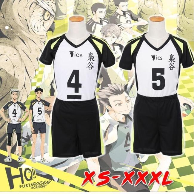 Anime Haikyuu!! Fukurodani Bokuto Koutarou Akaashi Keiji Uniform T-Shirt  Shorts Cosplay Costume Haikiyu Jersey Sportswear