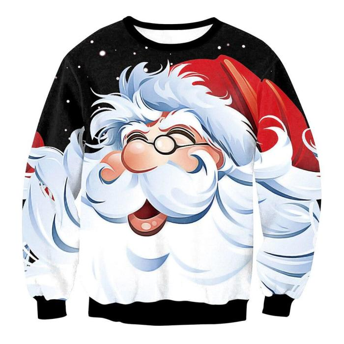 Fashion Ugly Christmas Sweater Men Women Round Neck Holiday Xmas 3D Funny Christmas Elk Printing Pullover Tops