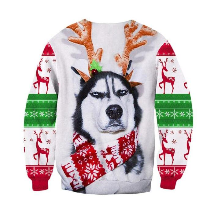 Ugly Christmas Sweater 3D Antler Print Novelty Ugly Christmas Sweater Unisex Men Women Long Sleeve Pullover Jumpers Sweater