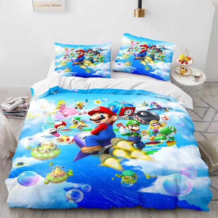 Super Mario Cosplay Bedding Set Full Duvet Cover Comforter Bed Sheets