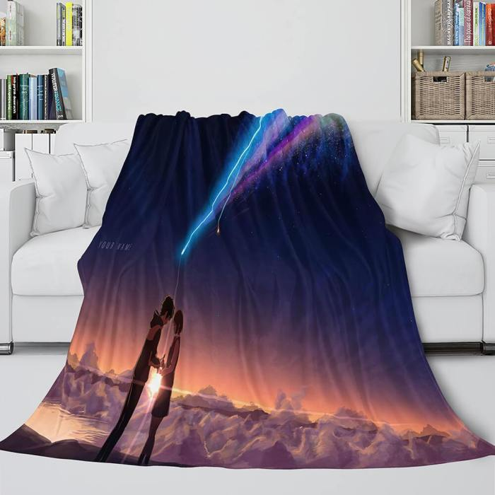 Anime Your Name Cosplay Flannel Blanket Throw Comforter Bedding Sets