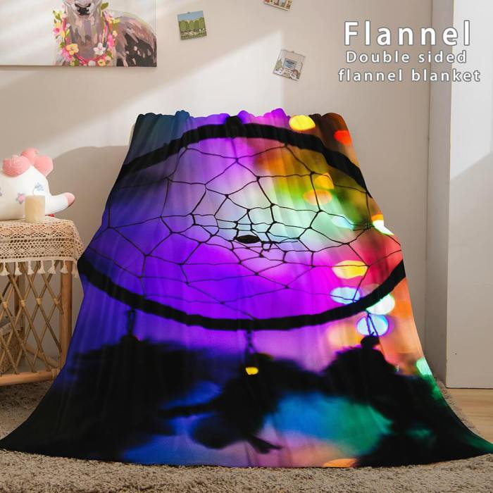 Magical Dream Catcher Flannel Fleece Reversible Sherpa Throw Blanket
