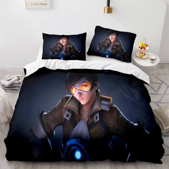 Blackwatch Mercy Overwatch Cosplay Bedding Set Duvet Covers Bed Sheets