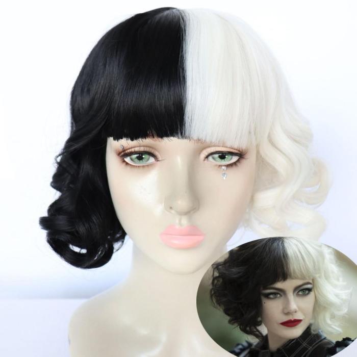 Movie Cruella De Vil Cosplay Costumes 101 Dalmatians Adult Women'S  Fashion Black White Dress Wig Halloween Party Clothes