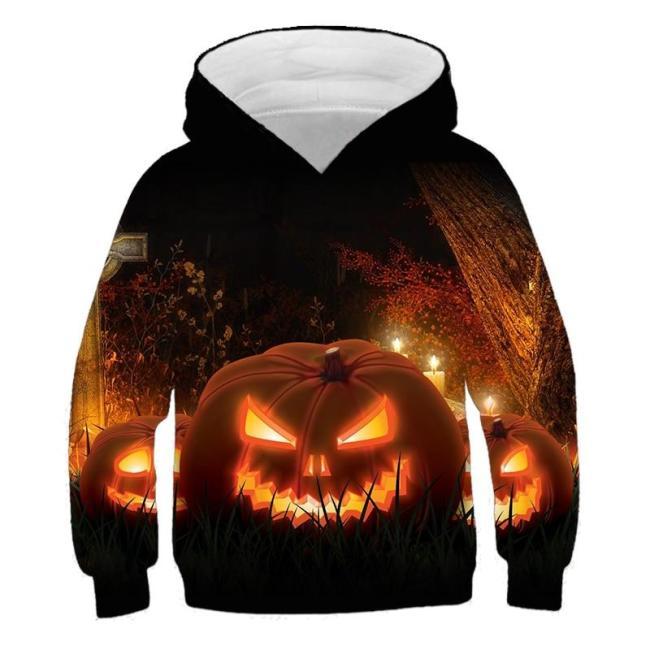 Fashion Halloween Costume 3D Kids Hoodies Children Clothes Girls Cartoon Pumpkin Print Hoodie Boys Autumn Pullover Outfits