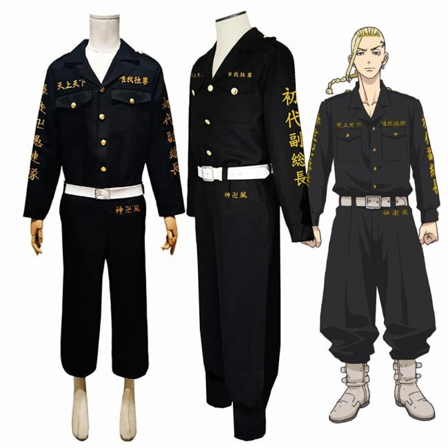 Anime Tokyo Revengers Ken Ryuguji Tokyo Manji Gang Cosplay Costume Black Shirt Pants Uniform