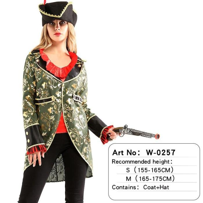 Adult Pirates Captain Female Costume Halloween Role Playing Cosplay Suit Medoeval Fancy Woman Dress Up No Weapon