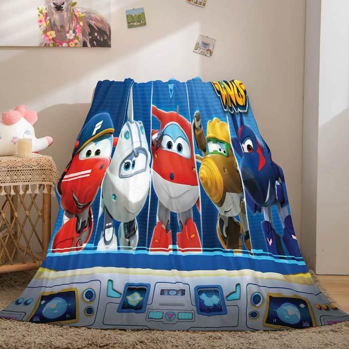 Super Wings Cosplay Flannel Fleece Throw Blanket Comforter Bedding Sets