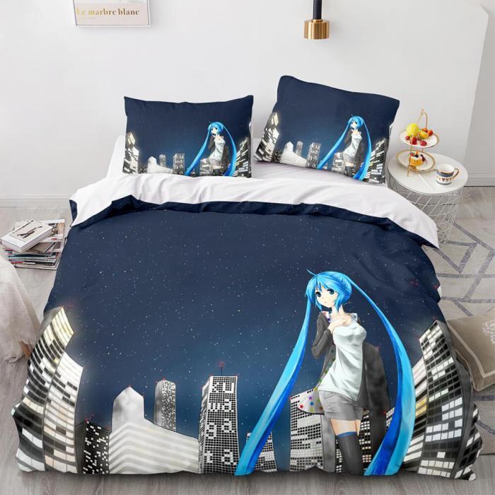 Hatsune Miku Cosplay Bedding Set Duvet Cover Comforter Bed Sheets