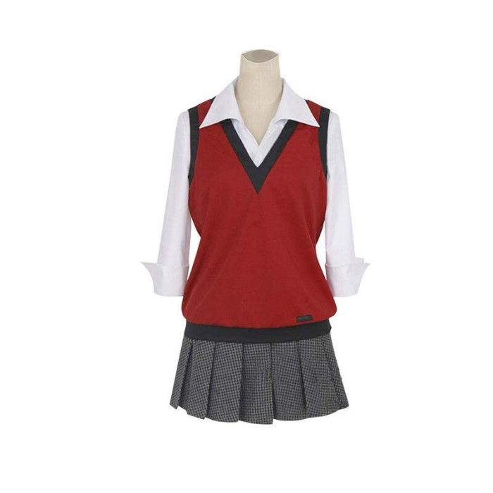 Kakegurui Compulsive Gambler Midari Ikishima Cosplay Costume Japanese School Uniform Vest Dress Women Jk Uniform Cosplay Props