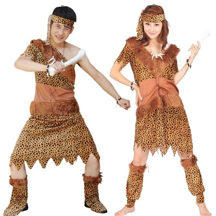 Halloween Kids Leopard Savage Caveman Croods Primitive Sexy Indian With Headwear Costume Carnival For Adult Men Women
